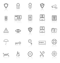 Security line icons with reflect on white vector