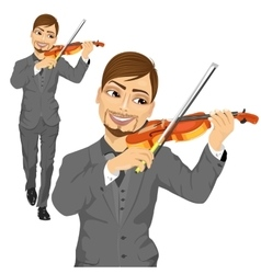 Young male violinist playing an acoustic violin vector