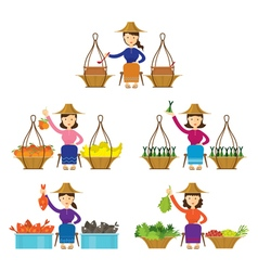 Thailand women street food seller set vector
