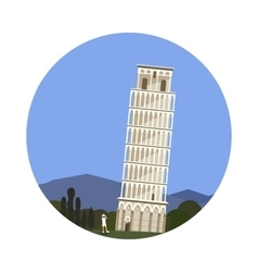 Leaning tower of pisa icon isolated on white vector