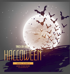 Bats flying in front of moon halloween background vector