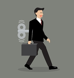 Businessman with wind up key in his back vector image vector image