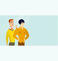 Caucasian man whispering to a friend a secret vector