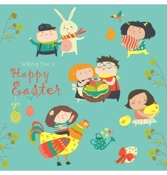 Characters and icons on the Easter theme in vector image vector image
