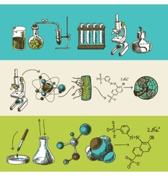 Chemistry research sketch banners set vector