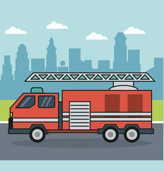 Colorful background with firetruck on the vector