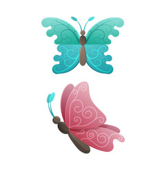 Colorful butterflies in pink and blue wings colors vector