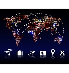 Colorful pixel world map with travel icons vector image