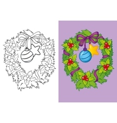 Coloring book of traditional christmas wreath vector