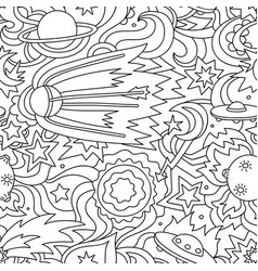 Crazy cartoon seamless pattern with satelite vector