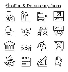 Election democracy icon set in thin line style vector