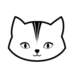 Face cat feline curious small outline vector