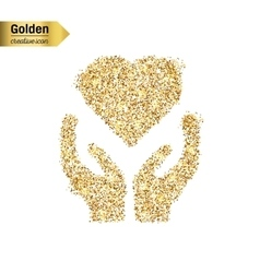 Gold glitter icon of heart in hand isolated vector image