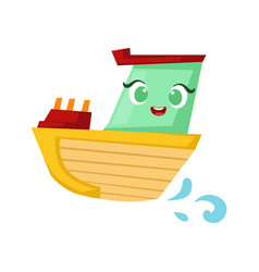 Green and yellow little boat cute girly toy vector