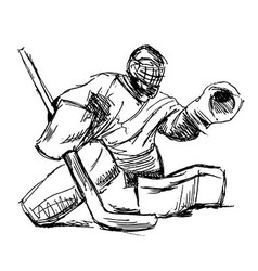 Hand sketch hockey goalie vector image vector image