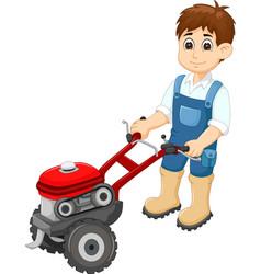 handsome man cartoon bring lawn mower vector image