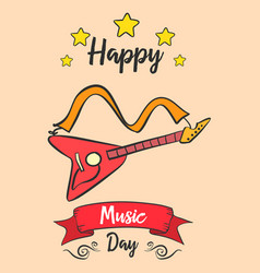 Happy music day card with guitar vector