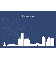 Houston city skyline on blue background vector image vector image