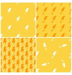 Lightnings yellow seamless patterns set vector