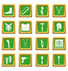 Orthopedics prosthetics icons set green vector