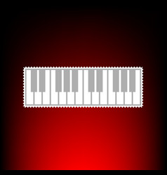 piano keyboard sign postage stamp or old photo vector image