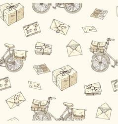 postal service seamless pattern vector image vector image