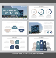 Set of blue elements for multipurpose presentation vector