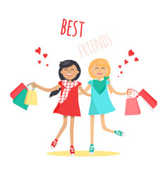 shopping with best friend flat concept vector image