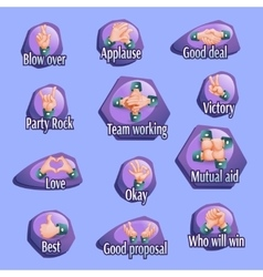 Social gestures emblems set vector