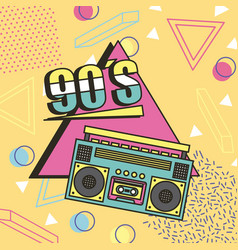 Tape recorder 90s music memphis style background vector
