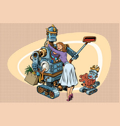 vintage retro family dad robot wife and child vector image vector image
