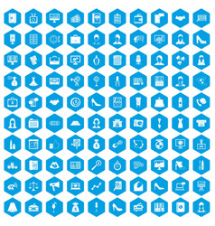 100 business woman icons set blue vector