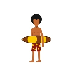 Surfer man holding yellow surfboard icon vector