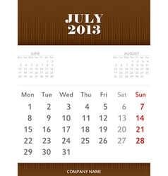 July 2013 calendar design vector image