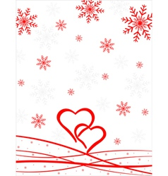 Hearts pattern with snowflakes vector