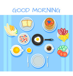 Colorful breakfast table concept vector