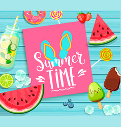 Summer time lettering on blue wooden background vector