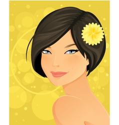 Beautiful brunette woman portrait vector