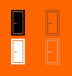 door black and white set icon vector image