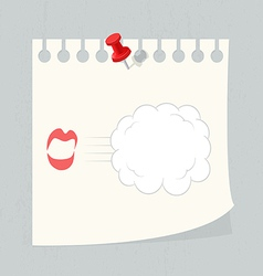 Speech bubble on paper note vector