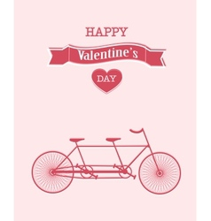 Happy valentines day bicycle background vector