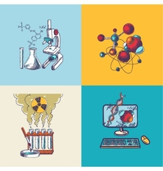 Chemistry icon sketch composition vector