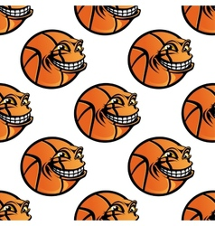 Seamless cartoon basketball ball repeating vector