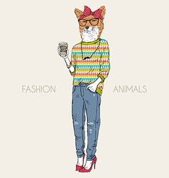 Fashion animal fox girl hipster drinking coffee vector