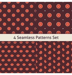 Four flat seamless music vinyl disc patterns set vector