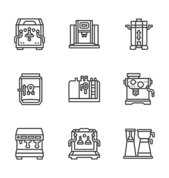 Flat black line coffee machines icons vector