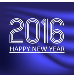 Happy new year 2016 on blue wave color background vector