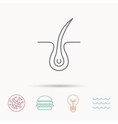 Trichology skin icon dermatology hair sign vector