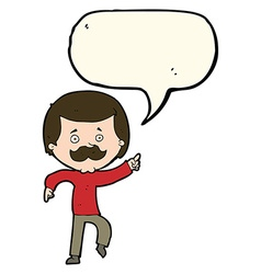 Cartoon dancing dad with speech bubble vector