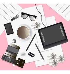 Creative mess on the table top view vector